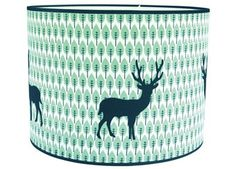 Harriet Bee 35 cm Cotton Drum Pendant Shade is with powder coated frame on asian-pvc base and upholstered with printed green blue retro design cotton with appliqued contrasting dark blue deer in felt. The lampshade comes with cable and fitting. Articles Pour Enfants, Buy Lamps, Drum Pendant, Dark Skies, Ceiling Decor, Silver Stars, Retro Design, House Colors, Duvet Covers