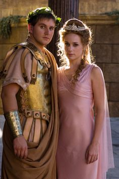 # Allen Leech and Kerry Condon as Marcus Agrippa and Octavia in HBO's Rome. He's better known as Tom Branson from Downton Abbey and she was the crazy lady who kept a zombie head in a bag on The Walking Dead. Rome Hbo, Rome Costume, Movie Costumes, Egyptian Costume, Ancient Rome, Ancient Greece, Rome Tv Series, Hbo Series, Roman Dress
