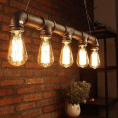 Industrial Loft Pendant Vintage Ceiling Light DIY Decoration Lamp E27 Metal Pipe