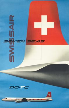Kurt Wirth Poster: Swissair - DC-7C Seven Seas