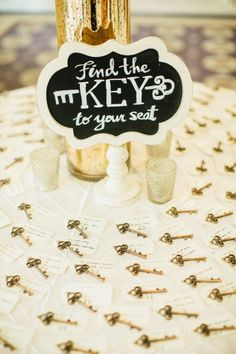 Cute seating card idea with old-fashioned keys!