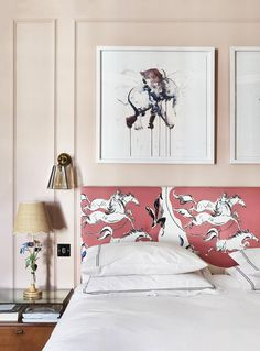 The pink paint is a mix of Farrow & Ball's 'Calamine' and Edward Bulmer's 'Cuisse de Nymphe Emue'. Pierre Frey's 'Lasso' cotton covers the headboard. A vintage lamp is paired with a scalloped shade by Matilda Goad. Farrow Ball, Matilda, Olive Green Paints, Morris Wallpapers, Printed Curtains, London House, Pink Walls, Vintage Lamps, French Decor