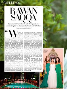 Harper's Bazaar Arabia feature on Rawan & Arian's Marrakech Wedding - June 2013