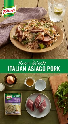 This mouthwatering recipe brings pork tenderloin and delicious new Knorr® Selects Asiago Cheese & Cracked Black Pepper to the table. With no artificial flavors or preservatives and a gluten-free rice dish, you can feel good about what you're putting on the table.