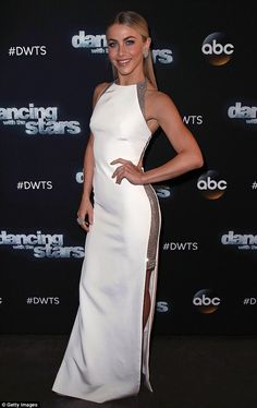 Stunning in white: Julianne Hough looked flawless in a white floor-length gown with silver detailing along the sides as she posed on the red carpet before the live performances Monday evening Best Celebrity Dresses, Celebrity Style, Tight Dresses, Nice Dresses, Julianne Hough Hot, Red Carpet Gowns, Floor Length Gown, Red Carpet Fashion, Celebrities