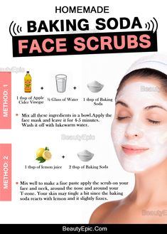 Remedies For Skin Baking Soda Face Scrub - Want to get a clear face? Well, Baking soda shows wonders as a face scrub helping you smiling with confidence. Here are some best baking soda face scrub Baking Soda Facial, Baking Soda Face Scrub, Baking Soda For Face, Baking Soda Uses, Benefits Of Baking Soda, Baking Soda Mask, Baking Soda Shampoo, Beauty Care, Beauty Skin