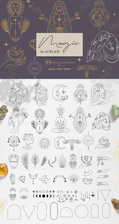 Ad: Magic woman feminine pack by Alisovna on Line Art Tattoos, Tattoo Flash Art, Leg Tattoos, Tattoo Drawings, Body Art Tattoos, Tatoos, Dainty Tattoos, Unique Tattoos, Small Tattoos
