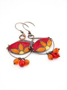 Enamel earrings  gypsy  moroccan   yellow orange by Doorsignforyou, $45.00