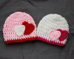 Newborn, Infant, Child Size Crochet Valentine's Day Hat with Hearts