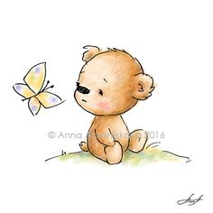 Archival Print. Drawing of cute teddy bear with butterfly. Nursery Wall Art, Children's illustration, Kid's gift.