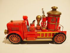 Vintage 1950s Tin Fire Department Truck Toy Made in Japan by Modern Toys - Red Gold Car via Etsy