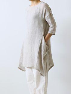 wrinkle linen drop pocket tunic