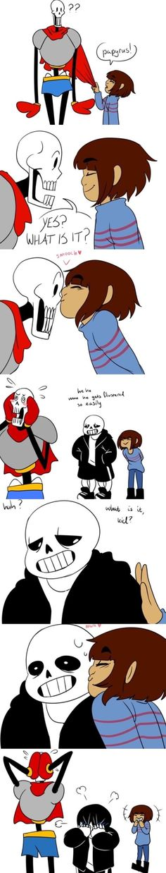 undertale, sans, papyrus God, I ship frisk with both of them. HALP *tried to think of clever san pun but can't* Flowey Undertale, Undertale Love, Undertale Memes, Undertale Ships, Undertale Fanart, Undertale Comic, Sans X Frisk Comic, Cute Comics, Funny Comics