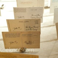 postcard table cards