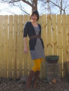 Curry colored tights, belts, knit dress