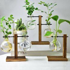 Mushroom Glass Vase Flower Hydroponics Plant Vases Home Office Living Room Decor