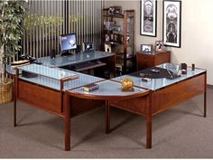 Gorgeous Modern Wooden Style Office Decorating Ideas For Men With Glass Table Top Design Combined With Traditional Touch For Interior Decoration Law Office Design, Law Office Decor, Office Interior Design, Office Interiors, Office Ideas, Office Designs, Men Office, Cozy Office, Used Office Furniture