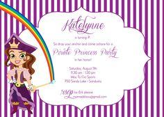"Custom Printable 5""x7"" Jake and the Neverland Pirates ""Pirate Princess"" Birthday Party Invitation"