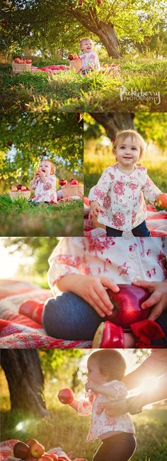 Unique stylized 1st Birthday photography Session. Apple orchard setting is created with apples tied to the tree. You can pick any park in the perfect spot for sunset. 1 year old little girl poses. Summer ideas.