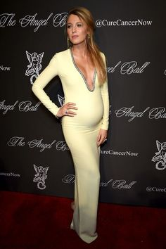 Pregnant Blake Lively wearing Gucci gown at 2014 Angel Ball. #blakelively #gucci