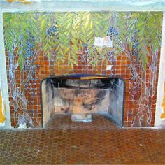 Hill House, built for lumber baron Clarence Hill in in Saginaw, Michigan, features a glass mosaic fireplace surround by artist Orlando Gianni, who designed tilework for architect Frank Lloyd Wright. Mosaic Fireplace, Fireplace Tile Surround, Fireplace Art, Craftsman Fireplace, Cottage Fireplace, Fireplace Update, Candles In Fireplace, Fireplace Garden, Shiplap Fireplace