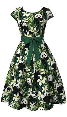 Cute dresses:Panda and Bamboo Print Vintage Dress