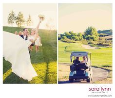 Golf Cart & Golf Course Wedding Image with Bride and Groom - Wedding Photography by SLP, www.saralynnphoto.com    Black Bear Golf Club, Parker CO