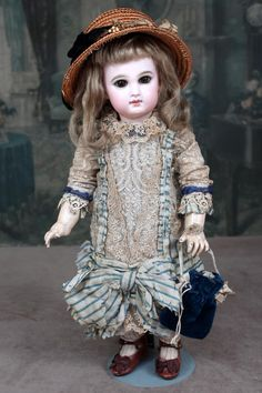 Incised Depose Jumeau Bebe size 6 in Fine Antique Costume