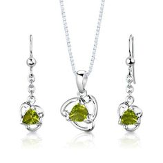 Sterling Silver Rhodium Finish 2.50 carats total weight Trillion Cut Peridot Pendant Earrings and 18 inch Necklace Set . $39.99
