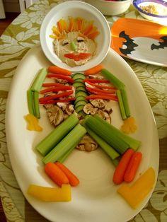 Skeleton Tray Full of Healthy Snacks! -- So creative! | Recipe by rookiemoms.com