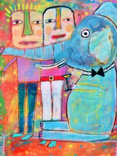 """""""Elephant In The Room"""" acrylic collage on paper by Tracey Ann Finley"""