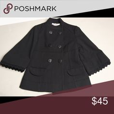 Black Pea Coat Bell-Sleeve with Croquettes Trim 🔥HP 12/6/16 PoshLoveFest: Wardrobe Goals Party🔥Black Pea Coat with Bell-Sleeve with Croquettes Trim. H&M Jackets & Coats Pea Coats