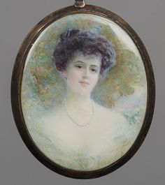 ALYN WILLIAMS RBA, PRMS (1865-1941) Portrait of a Young Lady Wearing a Pearl Necklace Miniature on ivory, mounted in a silver gilt frame with a suspension loop, the reverse with applied paper label 8.5 cm high --Some gilt loss to frame, generally in good condition.