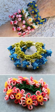 Flower Bracelets by Yarn Journey - the prettiest loom band bracelets I've ever seen! They remind me of daisy-chains, so cute!