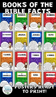 Books of the Bible Classroom Decor Poster Set Books of the Bible Classroom Decor Poster Set <br> Bible Activities For Kids, Bible Crafts For Kids, Bible Study For Kids, Sunday School Activities, Bible Lessons For Kids, Sunday School Lessons, Kids Bible, Sunday School Rooms, Sunday School Classroom