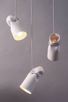 Strangled Lights: ceramic pendant lights.