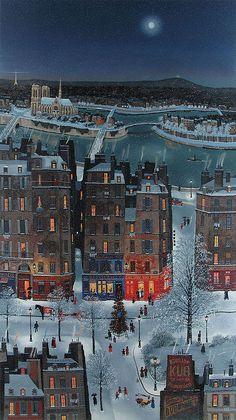 MICHEL DELACROIX Christmas in the Snow, Paris