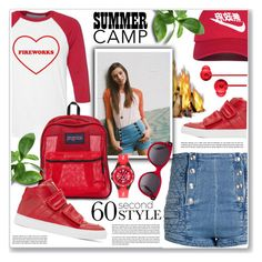 """summer camp"" by nanawidia ❤ liked on Polyvore featuring Pierre Balmain, Urban Outfitters, JanSport, MM6 Maison Margiela, NIKE, Alexander McQueen, Urbanears and Fila"