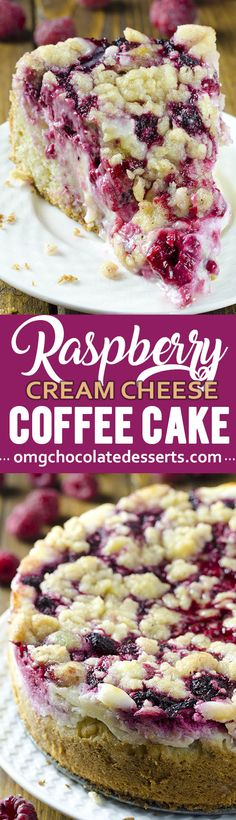 This raspberry cream cheese coffee cake is the only coffee cake recipe you will ever need. It's a delicious way to sneak a little fruit into everyone's favorite brunch. So easy to do! This raspberry cream cheese coffee cake is the only coffee Light Desserts, Just Desserts, Delicious Desserts, Yummy Food, Holiday Desserts, Baking Desserts, Cake Baking, Holiday Baking, Food Cakes