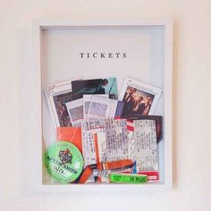 The Sorry Girls — Today's mini diy: fill a shadow box with tickets. Concert Ticket Display, Concert Tickets, Movie Tickets, Ticket Boxes, Ticket Stubs, Ticket Holders, The Sorry Girls, Cuadros Diy, Diy Shadow Box