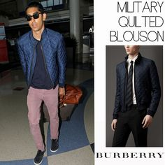 Male Fashion Trends: Dev Patel y su Military Quilted Blouson de Burberry Prorsum