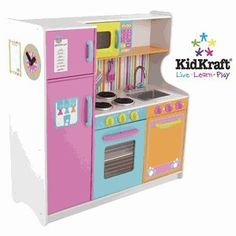 "KidKraft Deluxe Big & Bright Kitchen 53100 ""Kids will feel just like mom and dad when they cook up fun with the Deluxe Big and Bright Kitchen. Our KidKraft kitchens are designed by engineers who understand how kids play. Childrens Play Kitchen, Kids Play Kitchen, Play Kitchens, Bright Kitchens, Toy Kitchen, Wooden Kitchen, Kidkraft Kitchen, Real Kitchen, Kitchen Playsets"