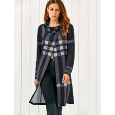 17.69$  Watch here - http://di278.justgood.pw/go.php?t=194780104 - Cowl Neck Front Slit Plaid T-Shirt 17.69$