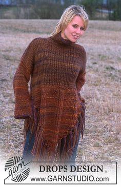 """DROPS bluse med rib og frynser i """"Highlander"""" og """"Eskimo"""". ~ DROPS Design"""