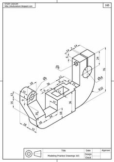 Isometric Drawing Exercises, Autocad Isometric Drawing, 3d Autocad, Mechanical Engineering Design, Mechanical Design, Cad 3d, Orthographic Drawing, Solidworks Tutorial, Mathematics Geometry