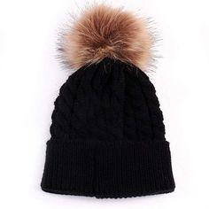 29af050b790 oenbopo Baby Winter Warm Knit Hat Infant Toddler Kid Crochet Fur Hat Beanie  Cap Baby Winter