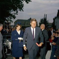 JFK & Jackie attending mass in 1961 in Rhode Island.
