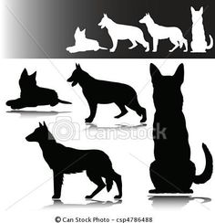 German shepherd silhouettes for Brick