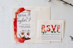 Watercolor Wedding Invitation by Honeyhuepaperco on Etsy