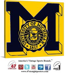Available soon from 47 STRAIGHT.™ #Michigan #Wolverines #vintage #canvasart #GoBlue #Big10 #MichiganWolverines #47straight #row1brand #sportsart